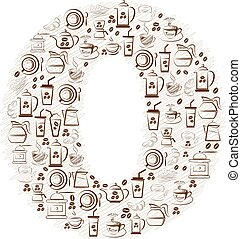 Abstract vector alphabet - O  made from coffee icon