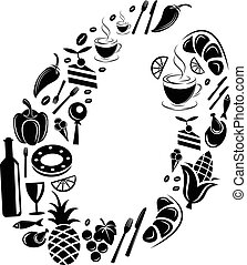 Abstract vector alphabet - O made from Food icon - alphabet set