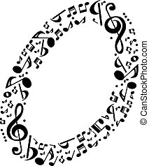 Abstract vector alphabet - O made from music notes - alphabet se