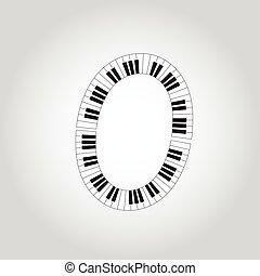 Abstract vector alphabet -  O  made from  piano - alphabet set