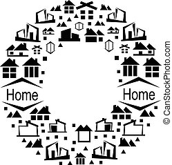 Abstract vector alphabet - O, made from the house icon - alphabet set.