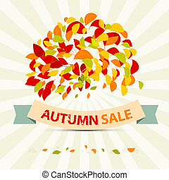 Abstract Vector Autumn Sale Illustration with Leaves on Retro Background