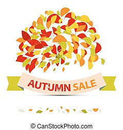 Abstract Vector Autumn Sale Illustration with Leaves on White Background