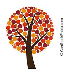 Abstract Vector Autumn Tree Illustration