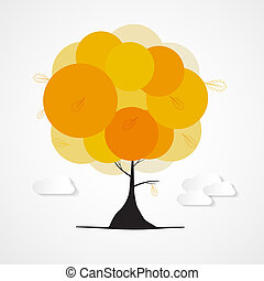 Abstract Vector Autumn Tree with Clouds Isolated on White Background