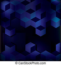 Abstract vector background.Blue cubes mosaic with white...