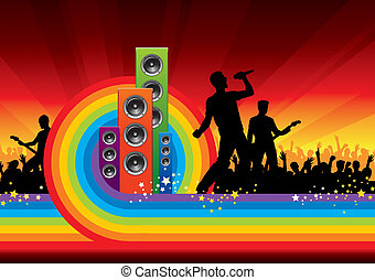 Abstract vector background - concert of rock band
