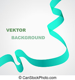 Abstract vector background. Green ribbon.