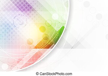 Abstract vector background in rainbow colors with circular elements and halftone effect.