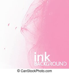 abstract vector background of pink fluid ink swirling in water.