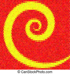Abstract vector background. Polygin style inlay. Spiral. Red and yellow colors