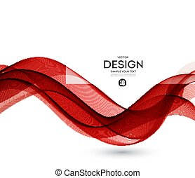 Abstract vector background, red wavy