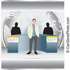 Abstract vector background with a duel of two persons and moderator in the studio