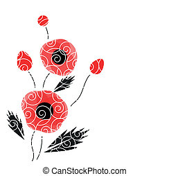 Abstract vector background with a poppies