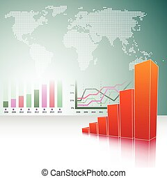 abstract vector background with bar graphs and world map