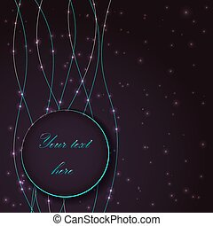 Abstract vector background with blue light bubble effects on round placeholder for your text.