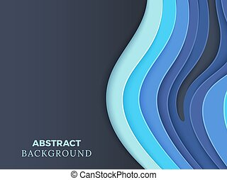 Abstract vector background with blue layered paper cut 3d waves