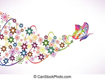Abstract vector background with butterfly and flowers