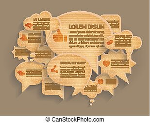 Abstract vector background with cardboard paper speech bubbles