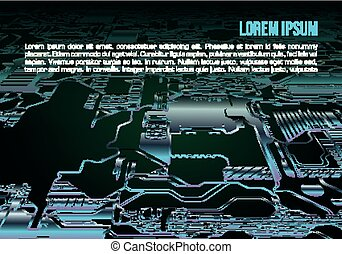 Abstract vector background with circuit board in blue color. Computer hardware technology. Motherboard chip.