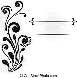 Abstract vector background with floral design element and copy space.