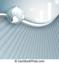 vector background with globe and bar graphs