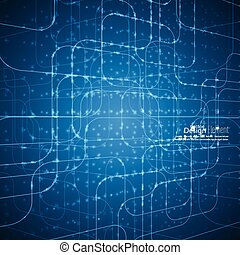 Abstract vector background with glowing grid. Architectural ...