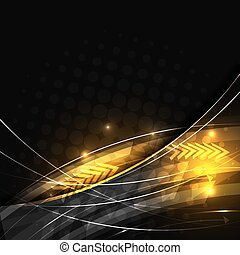Abstract vector background with glowing lines and halftone effect.