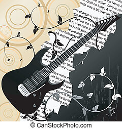 Abstract  vector background with guitar