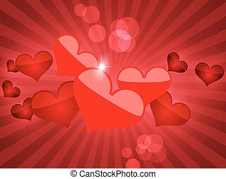 Abstract vector background with hearts.