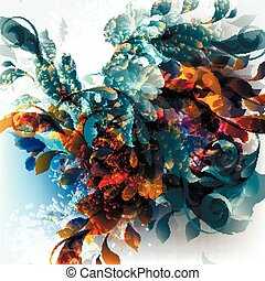 Abstract vector background with ink colored spots and florals. Underwater