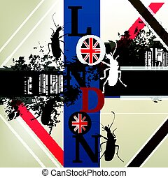 Abstract vector background with London word, beetles and English flag.eps
