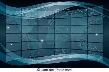 abstract vector background with map - eps 10