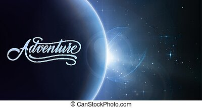Abstract vector background with planet and eclipse of its...