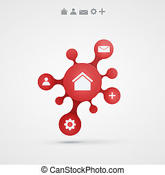 abstract vector background with infographic red design