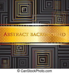 abstract vector black background with golden squares