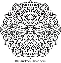 Abstract vector black round lace design in mono line style -...