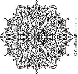 Abstract vector black round lace design - mandala, ethnic...