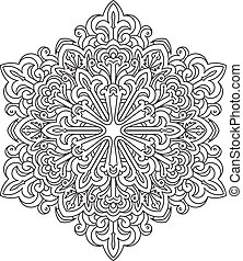 Abstract vector black round lace design in mono line style - mandala, ethnic decorative element. Can be used as anti stress therapy.