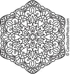 Abstract vector black round lace de