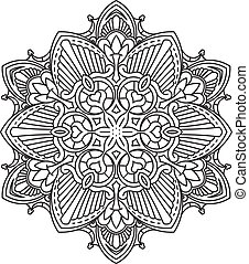 Abstract vector black round lace design - mandala, ethnic decorative element. Can be used as anti stress therapy.