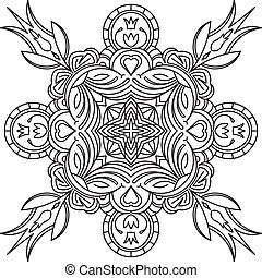 Abstract vector black square lace design in mono line style...