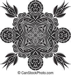 Abstract vector black square lace design in mono line style - mandala, ethnic decorative elements.