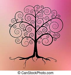 Abstract Vector Black Tree Illustration on Violet - Pink - Orange Blurred Background
