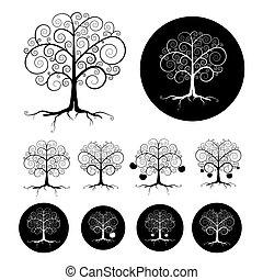 Abstract Vector Black Tree Illustration Set