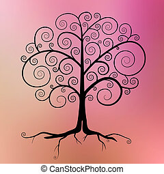 Abstract Vector Black Tree Illustration on Violet - Pink - Orange Blurred Background