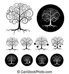 Abstract Vector Black Tree Illustration Set