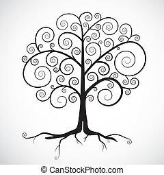 Abstract Vector Black Tree Illustration