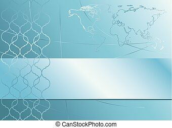 abstract vector blue background with map of the world
