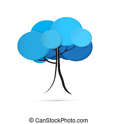 Abstract Vector Blue Winter Tree Isolated on White Background